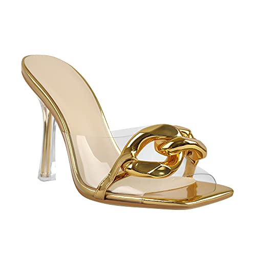 LISHAN Women's Square Open Toe Clear High Heels PVC Strap Slip On Heel Sandals Single Band Backless Slingback Slippers Chain Decoration Sexy Slide Sandals Summer Party Prom Stiletto Gold Size 7