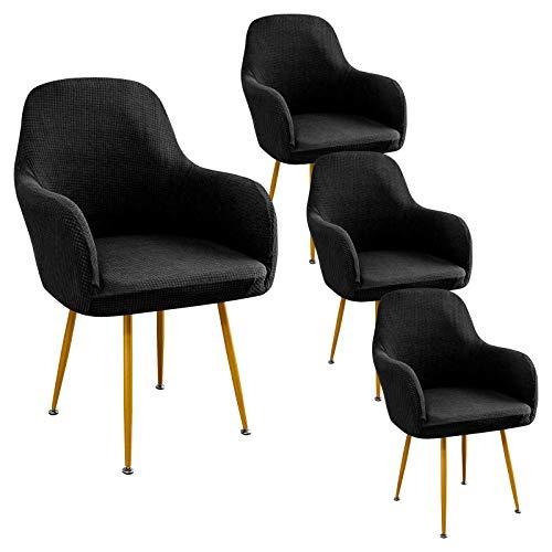 SearchI - Funda de silla con reposabrazos resistente al agua, 4 piezas, funda de sillón extensible, antideslizante, funda de silla escandinava para comedor, cocina, salón, color negro