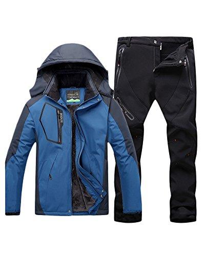 Qitun Hombre de Trekking Impermeable Deportivos Transpirable Pantalones Chaqueta de Esquí Impermeable...
