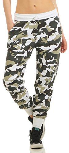 Damen Freizeithose Sporthose Sweat Pants Camouflage lang (633), Grösse:L / 40, Farbe:Weiß