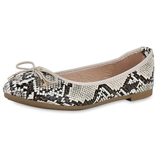 SCARPE VITA Damen Klassische Ballerinas Slip On Flats Animal Print Schuhe Slipper Freizeitschuhe 191464 Creme Dunkelbraun Schwarz Snake 39