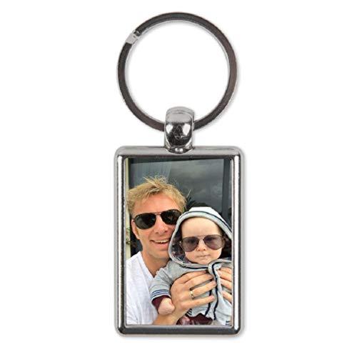 Schlüsselanhänger personalisiert mit Foto - Gestalte den rechteckigen Schlüsselanhänger aus rostfreiem Stahl