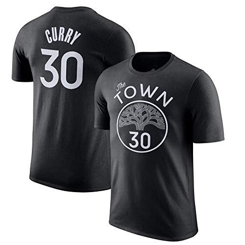 LAVATA Herren T-Shirt Golden State Warriors # 30 Stephen Curry Stadt Basketball Trikot Jugend Outdoor Freizeitsport Kurzarm Top Schwarz Blau (S-XXXL)