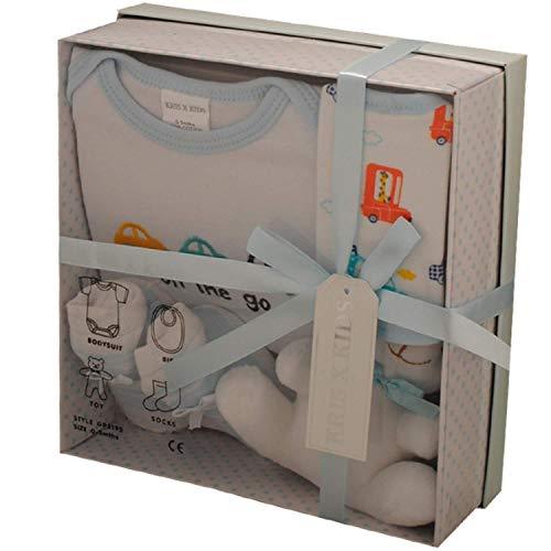 Baby-Geschenkset, 0–3Monate, in Geschenkbox, 4-teilig,erhältlich in blau, pink, zitronengelb oder weiß. Gr. Neugeborene, Blaues Set