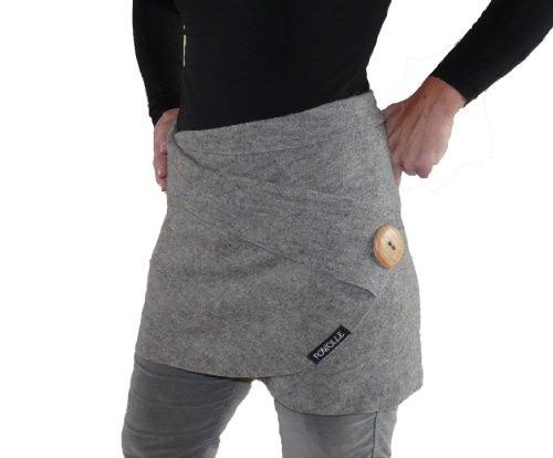 POWOLLE Outdoor Freizeit Yoga Wickelrock Walkwolle (38/40, grau)