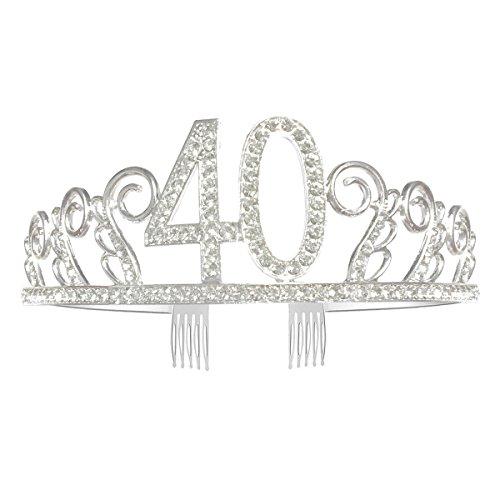 GreeStore Tiara de 40 cumpleaños con corona de diamantes de imitación de cristal con peine para el pelo, regalo de cumpleaños 40 accesorios para fiesta de plata