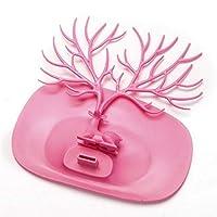 Qjbh1 イヤリングネックレスリングペンダントブレスレットジュエリーディスプレイスタンドトレイツリー収納ラック収納バッグ (Color : Pink)