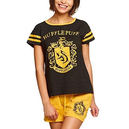 Elbenwald Harry Potter Pyjama Hogwarts Häuserwappen Hufflepuff Frontprint 2teilig für Damen kurz gelb - S