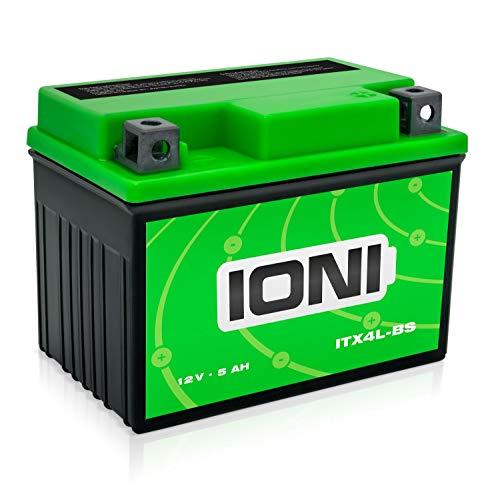 IONI ITX4L-BS / SLA4L-BS 12V 5Ah AGM Batterie kompatibel mit YB4L-B / YTX4L-BS versiegelt/wartungsfrei Rollerbatterie passend für 99% aller Motorroller