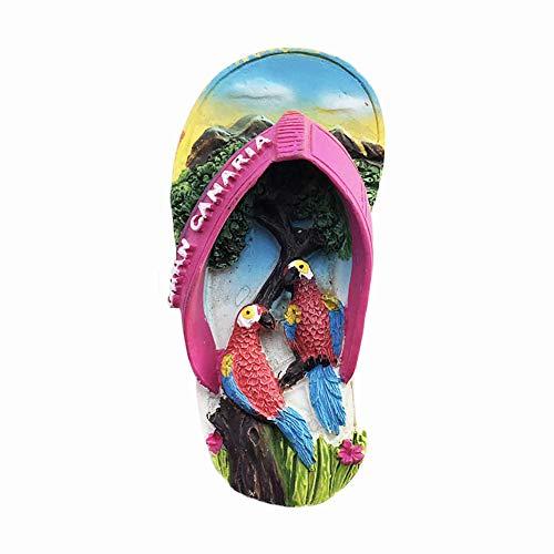 Gran Canaria 3D-Flip-Flop-Souvenir-Kühlschrankmagnet, Geschenk, Kunstharz, handgefertigt, Heim- und Küchendekoration, Spanien-Kühlschrankmagnet, Magnetkollektion