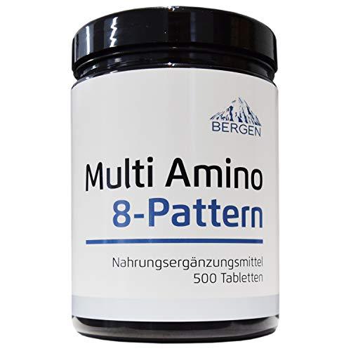 Multi Amino-EAA 8 Pattern - 500 Tabletten mit je 1000 mg - Master Amino Protein Formel mit 8 essentielle Aminosäuren aus Hülsenfrüchten - BCAA - Hochdosiert - Vegan - Laborgeprüft