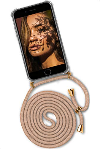 ONEFLOW Handykette 'Twist Case' Kompatibel mit iPhone 6s / iPhone 6 - Hülle mit Band abnehmbar Smartphone Necklace, Silikon Handyhülle zum Umhängen Kette wechselbar - Gold Beige