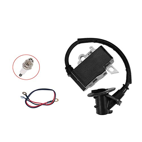PARTSRUN MS361 TS410 TS420 Ignition Coil Module + Spark Plug for Stihl MS341 MS361 Chainsaw MPN:#1135 400 1300 for Stihl TS410 420 Concrete Cut-Off Saw OEM 42384001301,ZF155-XHHS