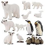 Tomaibaby Juego de 12 figuras de animales polares realistas, diseño de animales marinos del océano, incluye oso polar pingüino y ballena.
