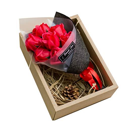 VOSAREA Rosas Rojas del jabón Caja de Regalo de la Flor Artificial Regalos del día de San Valentín Ramo Eterno Rojo 7pcs