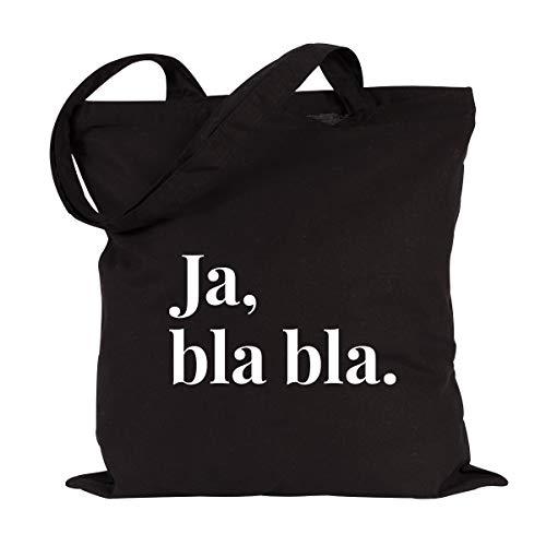 JUNIWORDS Jutebeutel, Wähle ein Motiv & Farbe, Ja, bla bla. (Beutel: Schwarz, Text: Weiß)