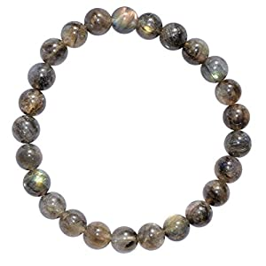 Zenergy Gems Selenite Charged Natural Labradorite Crystal Bracelets + Selenite Heart Charging Crystal Included (Healing Energy/Transformation/Clarity) (8mm Round)