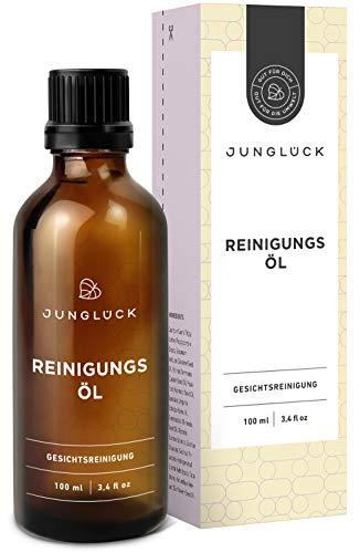 Junglück veganes Reinigungsöl | 100 ml im Braunglas | Für ein spürbar reineres Hautbild, mit belebender & erfrischender Wirkung | Natürliche & nachhaltige Kosmetik made in Germany