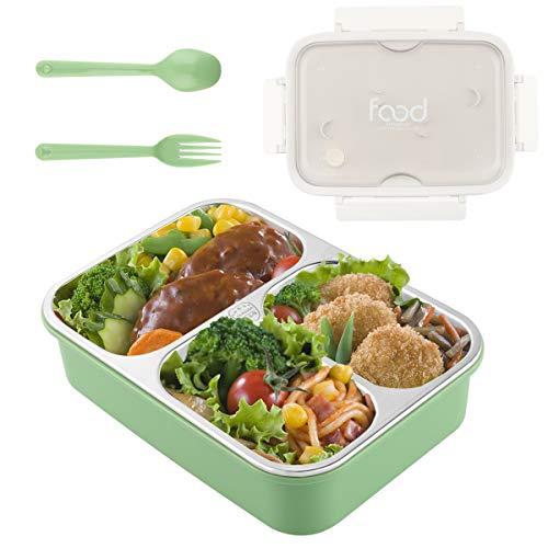 Lunch Box in Acciaio Inox, Scatola da Pranzo Bento-Box con Coperchio in Plastica,Bento Box in Acciaio Inossidabile per Bambini e Adulti, Contenitore I