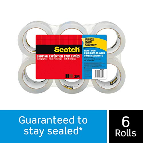 "Scotch Heavy Duty Shipping Packaging Tape, 1.88"" x 54.6 Yards, 3"" Core, Clear, Great for Packing, Shipping & Moving, 6 Refill Rolls (3850-6)"