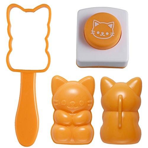 DOITOOL Stampo per cubetti di ghiaccio a forma di gatto, stampo per riso, stampo per sushi con imprimenti di alghe tostate, set di utensili da cucina fai da te