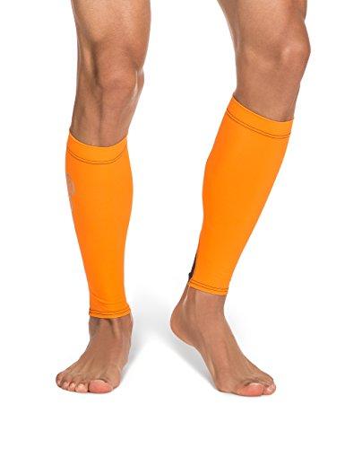 SKINS Essentials Calftights MX - Calentadores de Brazos de Running para Hombre, Color Naranja/Negro, Talla L
