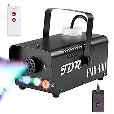 JDR Fog Machine with Controllable lights, DJ LED Smoke Machine(Red,Green,Blue) with Wireless and Wired Remote Control for Christmas Parties Weddings Halloween holiday, with Fuse Protec from JDR