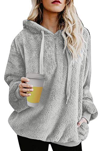 UMIPUBO Sweat Femmes Pull Pullover Oversize Hoodie Sweat à Capuche Poche Zippées Casual Flanelle Moelleux Chaud Automne Hiver Mode Sweatshirt Manches Longues Outerwear Tops,Gris,XL