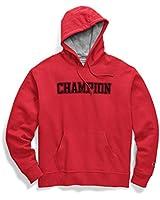 Champion Mens Powerblend Applique Fleece Hoodie, Adult, Bleached Indigo, X L