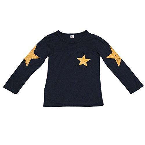 Petit Garçon T-Shirt , OverDose Manches Longues Imprimé étoile Enfant En Bas âge Enfants Tête Des Vêtements (4 Ans, Marine)