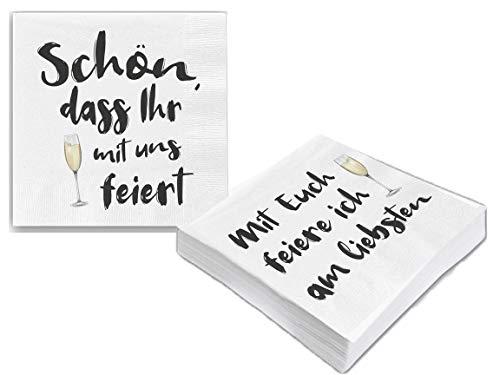 Bada Bing 2er Set Mit 40 Stück Servietten Spruch Weiß Edel Papierservietten