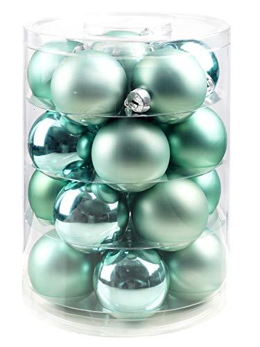 Inge-Glas Christbaimkugeln   Weihnachtskugeln aus Glas   Verschiedene Kugeldosen in vielen Farben   Kugeln Weihnachten Weihnachtsbaum (Winter Jade, 20 Weihnachtskugeln 6cm)