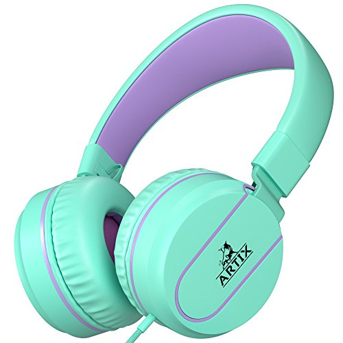 Artix Foldable On-Ear Adjustable Tangle-Free Wired Headphones, Compact Stereo Earphones with in-line Microphone and Controls for Children &Teen Head Phones for Sport, Travel, School - Turquoise