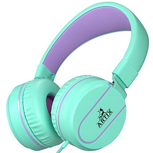 Artix Kopfhörer mit Mikrofon für Reisen, Arbeit, Kinder, Jugendliche, Laufen, Sport, mit Inline-Controller (Türkis)