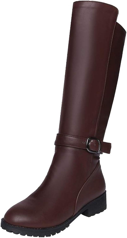 RizaBina Women Low Heel Equestrian Boots Half Zip