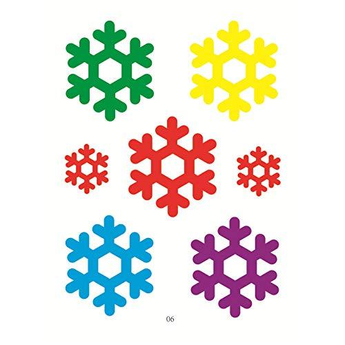 Goviells Weihnachten Fensterdeko,Fensterbilder Weihnachten Selbstklebend, Fensteraufkleber Weihnachten,Winter-Deko Schneeflocken Fensterbild, Statisch Cartoon Fensterbilder-F