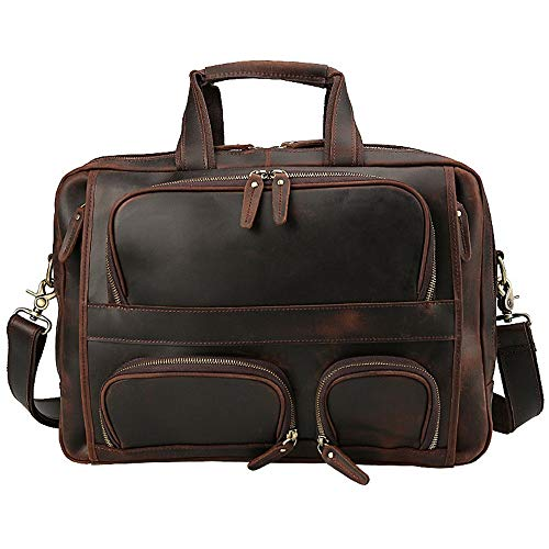 YAzNdom Zakelijke Handtas Vintage Lederen heren Aktetas Grote Capaciteit 17 Inch Laptop Tas Reizen Schoudertas Zakelijke Tas Met Dikke Riem Mannen Zakelijke Hand Band Rugzak
