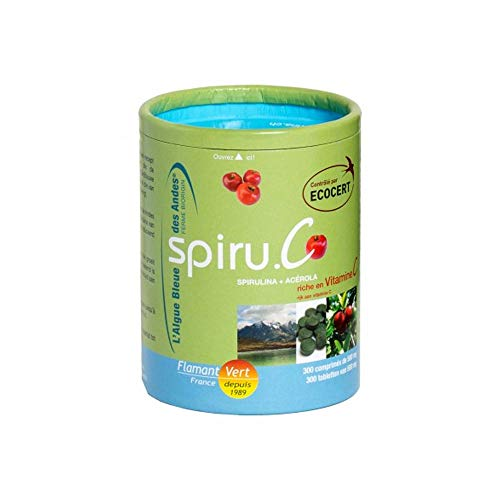 Flamant Vert Spiruline Algue Bleue des Andes et Acérola Bio 300 Comprimés de 500 mg