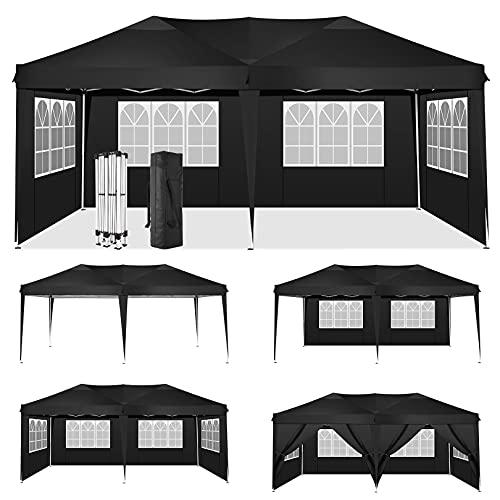 HOTEEL 3x6 Carpa Impermeable Cenadores para Jardin Carpas Plegables Cenador Plegable con 6 Paneles Laterales y Bolsa Transporte (3x6M, Negro)