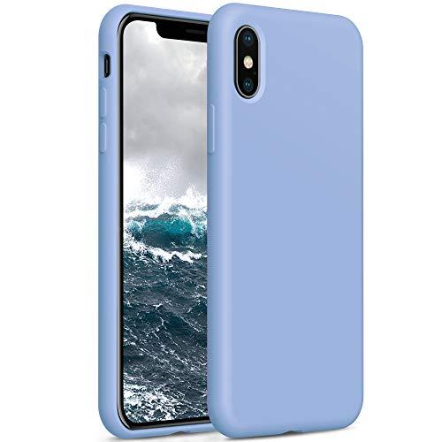 YATWIN Compatibile con Cover iPhone X 5,8  , Compatibile con Cover iPhone XS Silicone Liquido, Protezione Completa del Corpo con Fodera in Microfibra, Azzurro