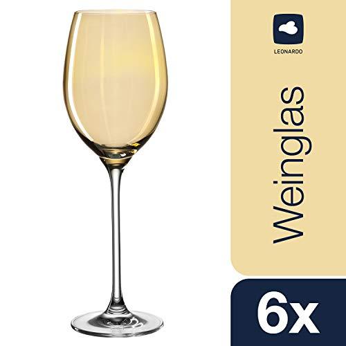 Leonardo Lucente Weißwein-Gläser, Weißwein-Kelch mit gezogenem Stiel, Wein-Glas in Gold-Gelb, 6er Set, 400 ml, 061778