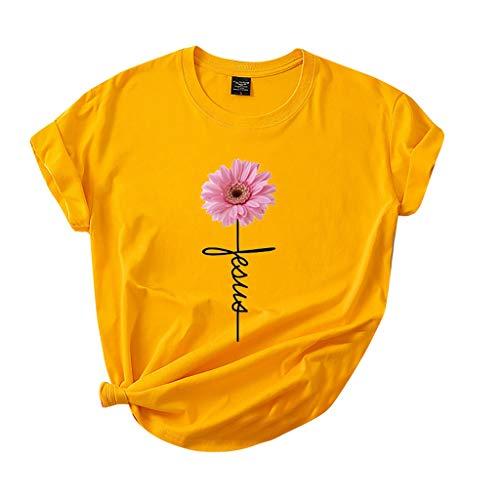 Dasongff Damen T-Shirt Sommer Rundhals Kurzarmshirt Einfarbig Crop Tops mit Sonnenblume Basic Casual Blusen Oberteile