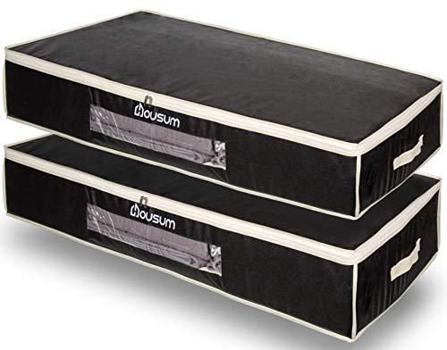 Housum ® Unterbettkommode 2er Set atmungsaktiv | Unterbett Aufbewahrungstasche mit Sichtfenster & Reißverschluss | Bettwäsche und Kleidung lagern | 100 x 48 x 15 cm | Schwarz Vlies groß