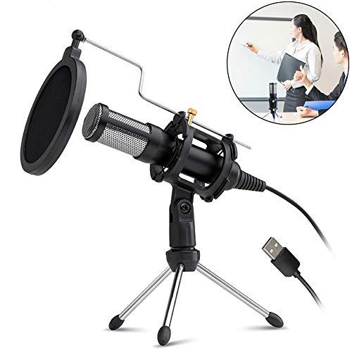 DHQSS professionele condensator microfoon voor computer met standaard voor telefoon PC Skype Studio Microfoon USB microfoon Karaoke Mic