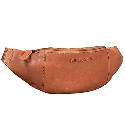 STILORD 'Shawn' Riñonera Cuero Grande Vintage para Festivales Deporte Bolso Cintura Bum Bag auténtica Piel, Color:girona - marrón