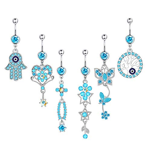 ORAZIO 14G Belly Button Rings for Women Surgical Steel Dangle Belly Rings Curved Navel Barbell Piercings Body Jewelry Piercing Set