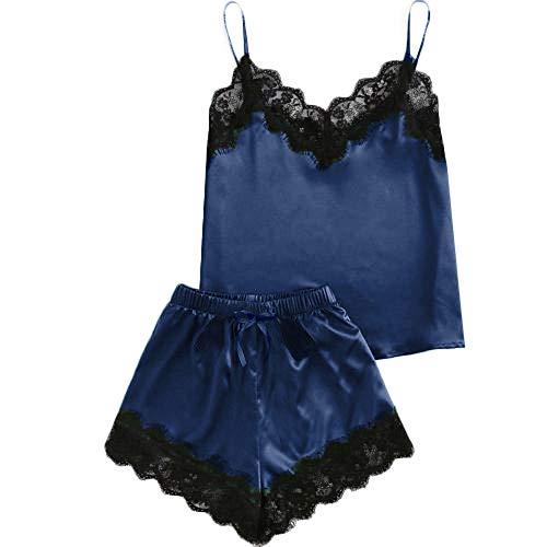 holitie Dessous Nachthemd Nachtwäsche Frauen Sleeveless Strap Lace Trim Satin Cami Top Pyjama Sets