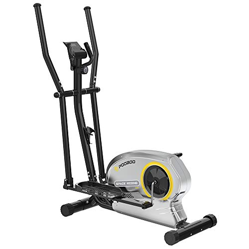 pooboo Elliptical Trainer Magnetic Elliptical Machines for Home Use Portable Elliptical Trainer with Pulse Rate and LCD Monitor (Silver Grey)