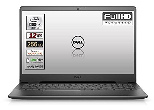 Notebook SSD Dell, Cpu Intel i3 di 10 Gen. fino a 3,4 GHz, Display 15,6  ips led SSD nvme da 256 Gb, Ram 12Gb, ddr4, Win10 Pro, Webcam, wi-fi, bt,3 usb, lan, Pronto All uso, Garanzia Italia