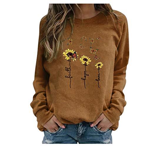 BOIYI Camiseta Manga Larga de Cuello Redondo Mujer Jersey con Estampado de Girasol y Mariposas Casual Camiseta Otoño Primavero Sudaderas Blusa Tops Pullover(Marrón,L)